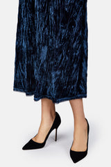 Dina Crushed Velvet Dress - Navy