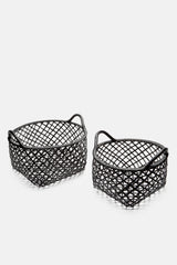 Rattan Black Basket - Set of 2