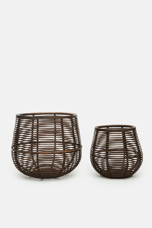Rattan Brown Basket - Set of 2