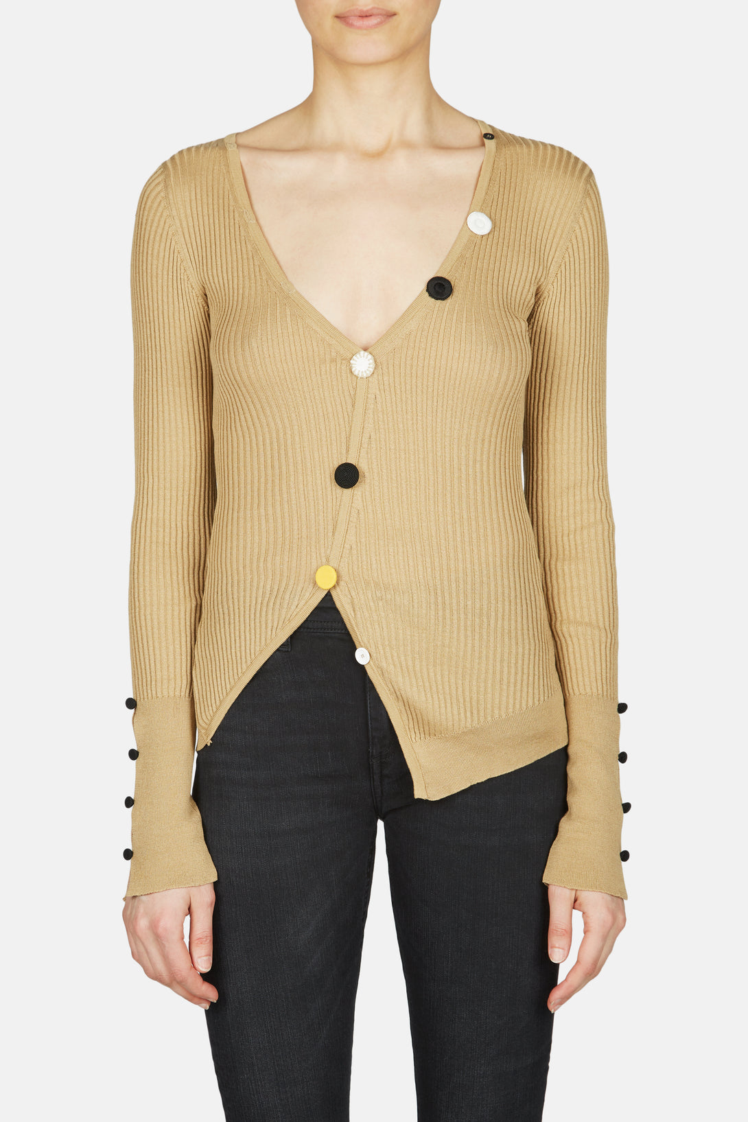 Tordu Long Sleeve Cardigan with Multi Tone Buttons - Brown