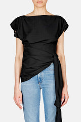 Le Haut Espiral Side Tie Top - Black