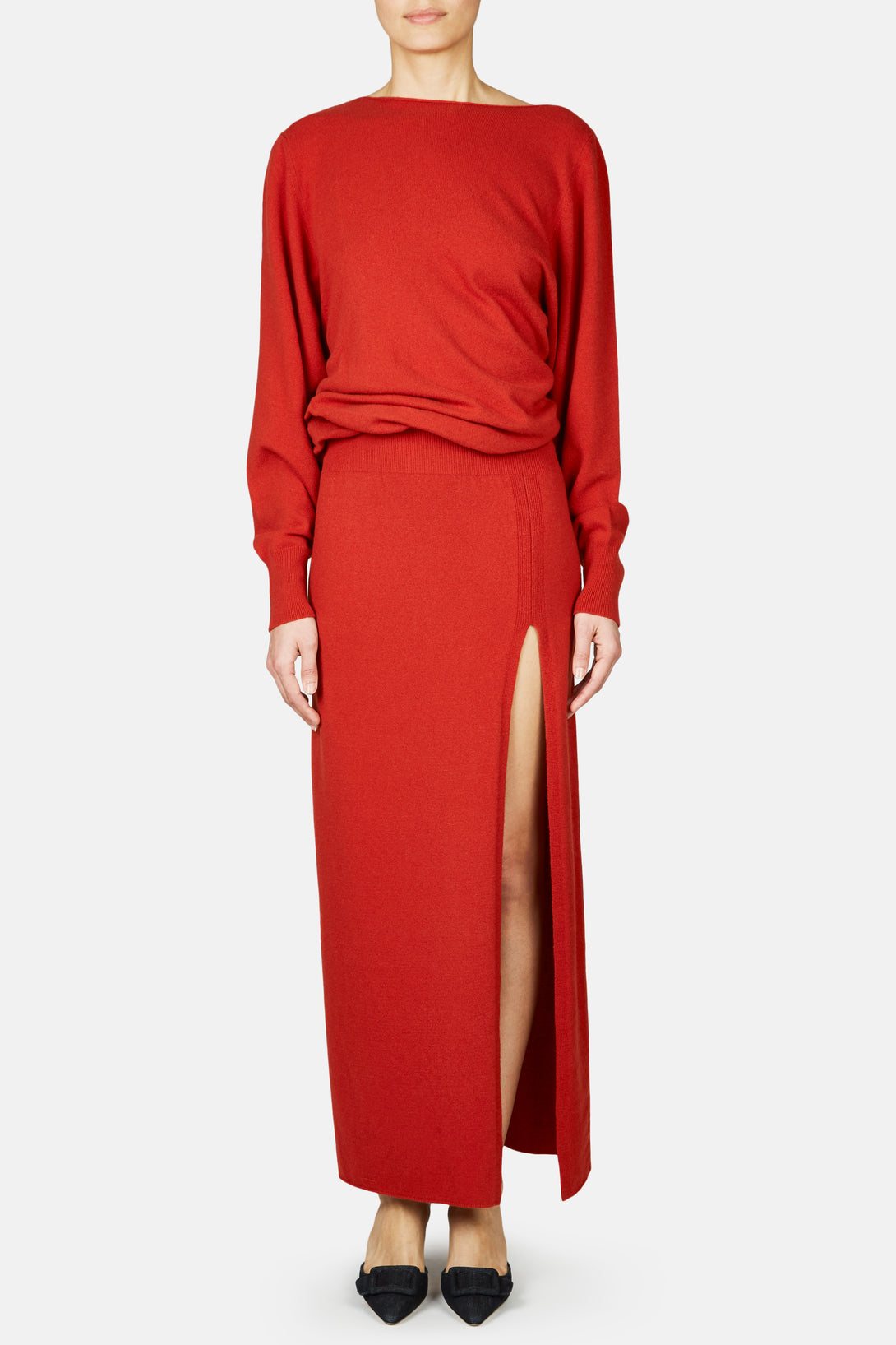La Robe Jemaa Long Knit Dress - Red