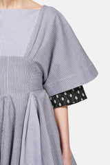 Fan Hem Stripe Dress - Chambray
