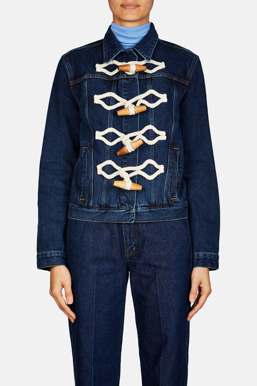 Toggle Front Denim Jacket - Indigo