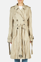 Double Faced Crinkle Trench - Hemp
