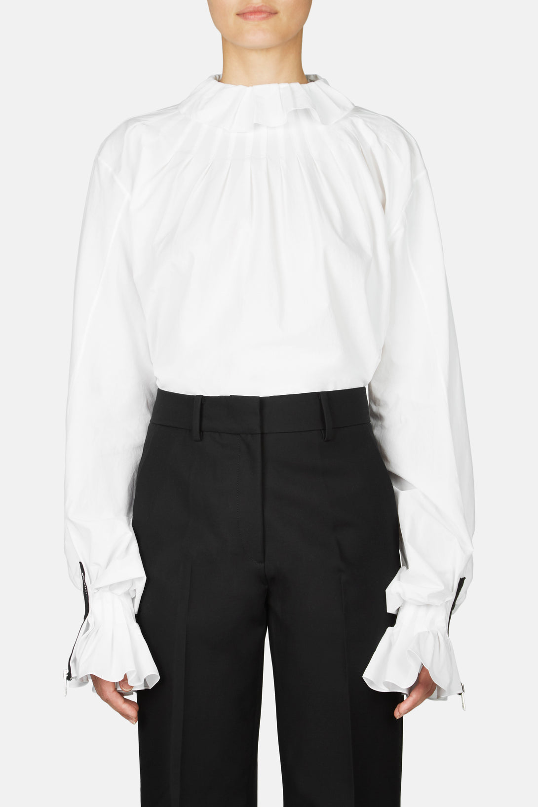 Pleated Collar Shirt - White