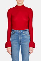 Henrietta Ruffle Cuff Sweater - Red