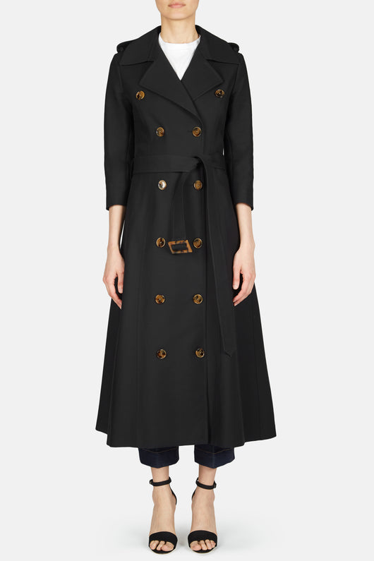 Charlotte Double Breasted Trench Coat - Black