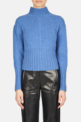 Maude Cable Detail Fitted Sweater - Sky Blue
