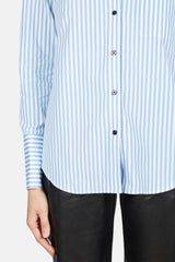 Diana Patch Pocket Button Down Shirt - Light Blue Stripe