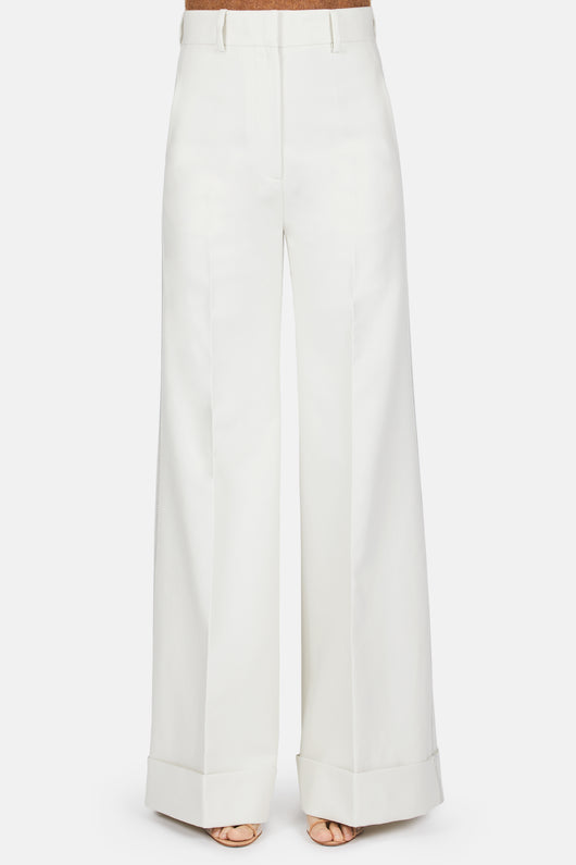 Beatrice Cuffed Wide Leg Pant - Cream