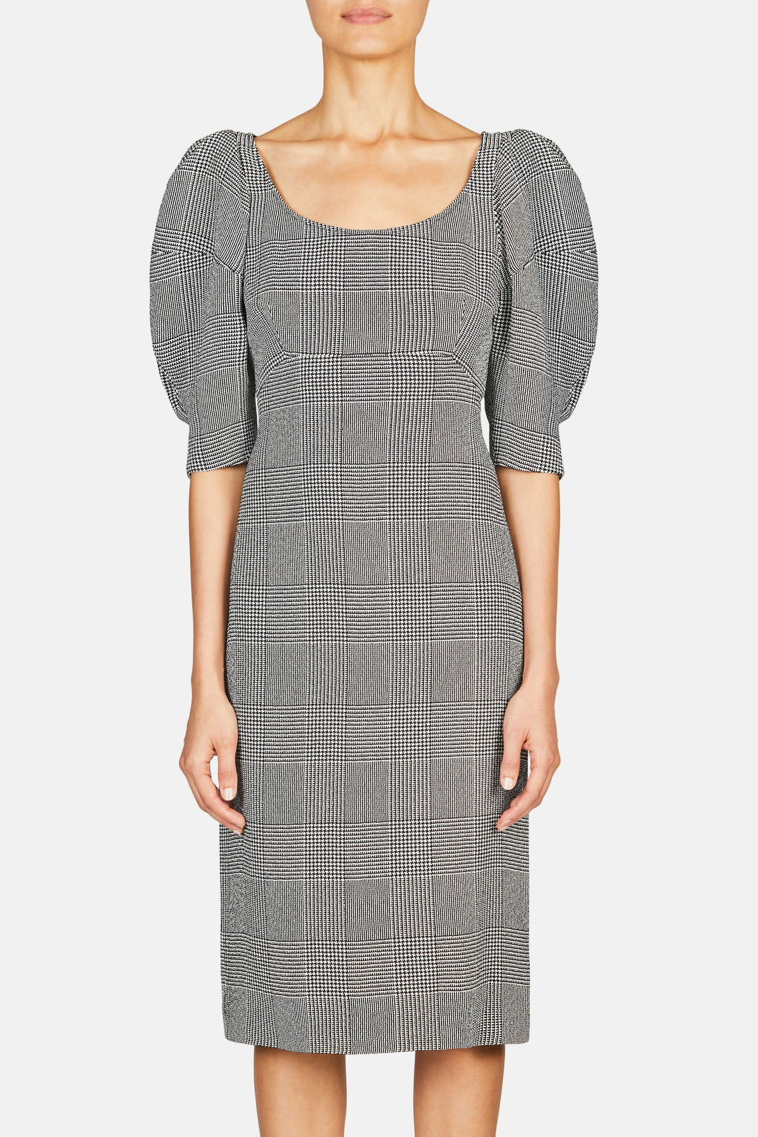 Beatrice Round Sleeve Dress - Black/White Check