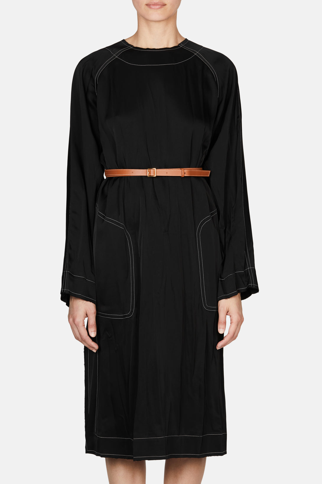 Belted Tunic Dress - Black