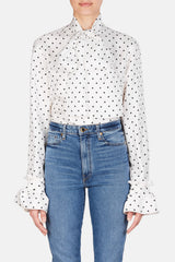 Dot Lavalliere Blouse - White