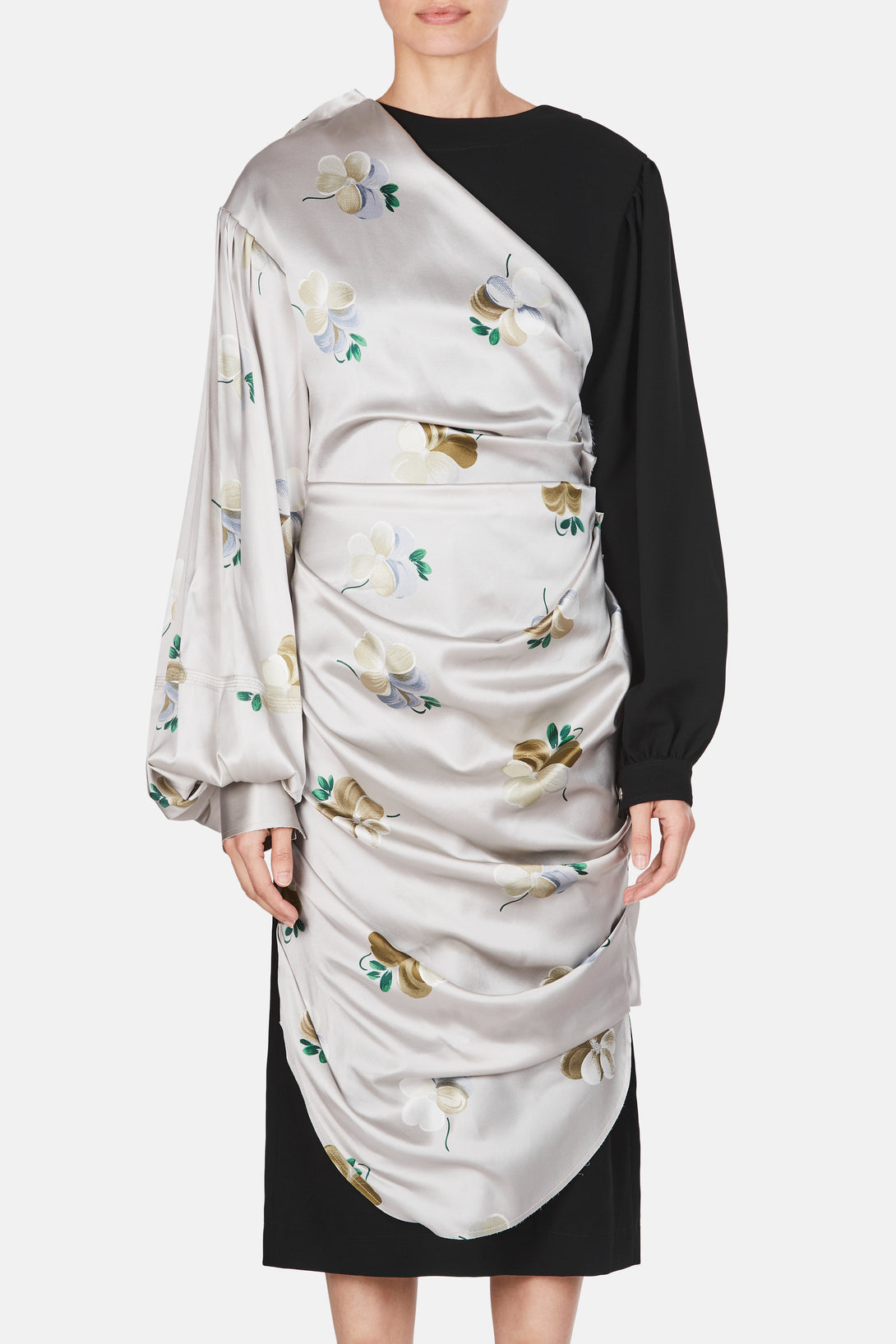 Draped Floral Satin Dress - Light Grey