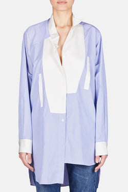 Asymmetric Oversized Button Up Shirt - White/Blue