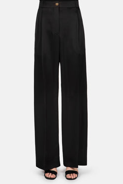 Classic Pleated Front Cropped Trouser - Black