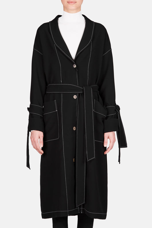 Contrast Stitch Duster Coat - Black