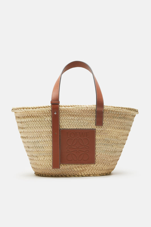 Basket Bag with Leather Straps - Natural/Tan