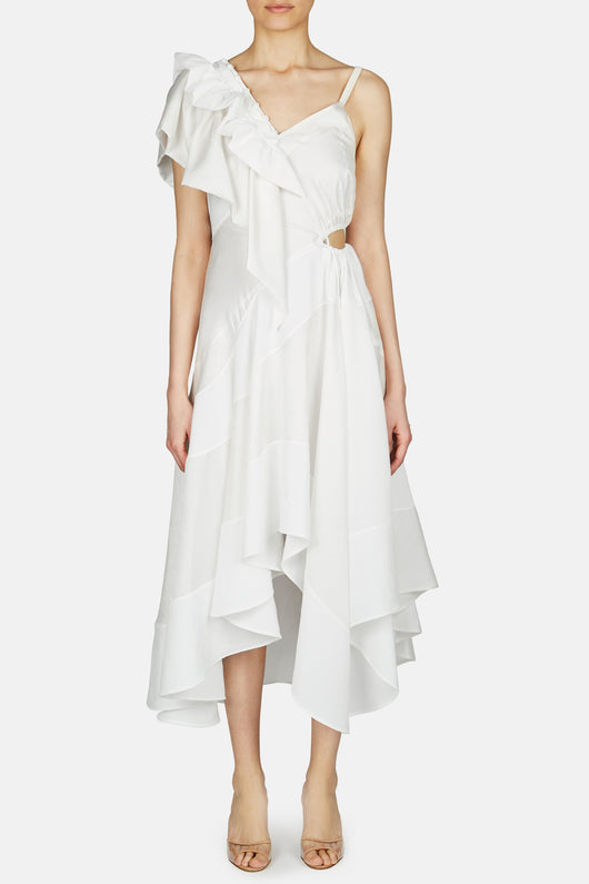 Ruffle Dress - White