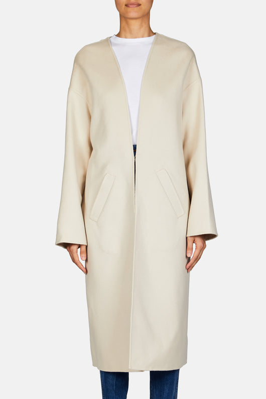 Collarless Coat - Light Beige