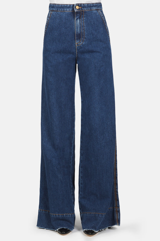 Wide Leg Flare Jeans - Blue Denim
