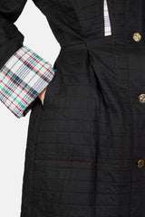 Quilted Waist Coat with Check Cuffs - Black/Multicolor