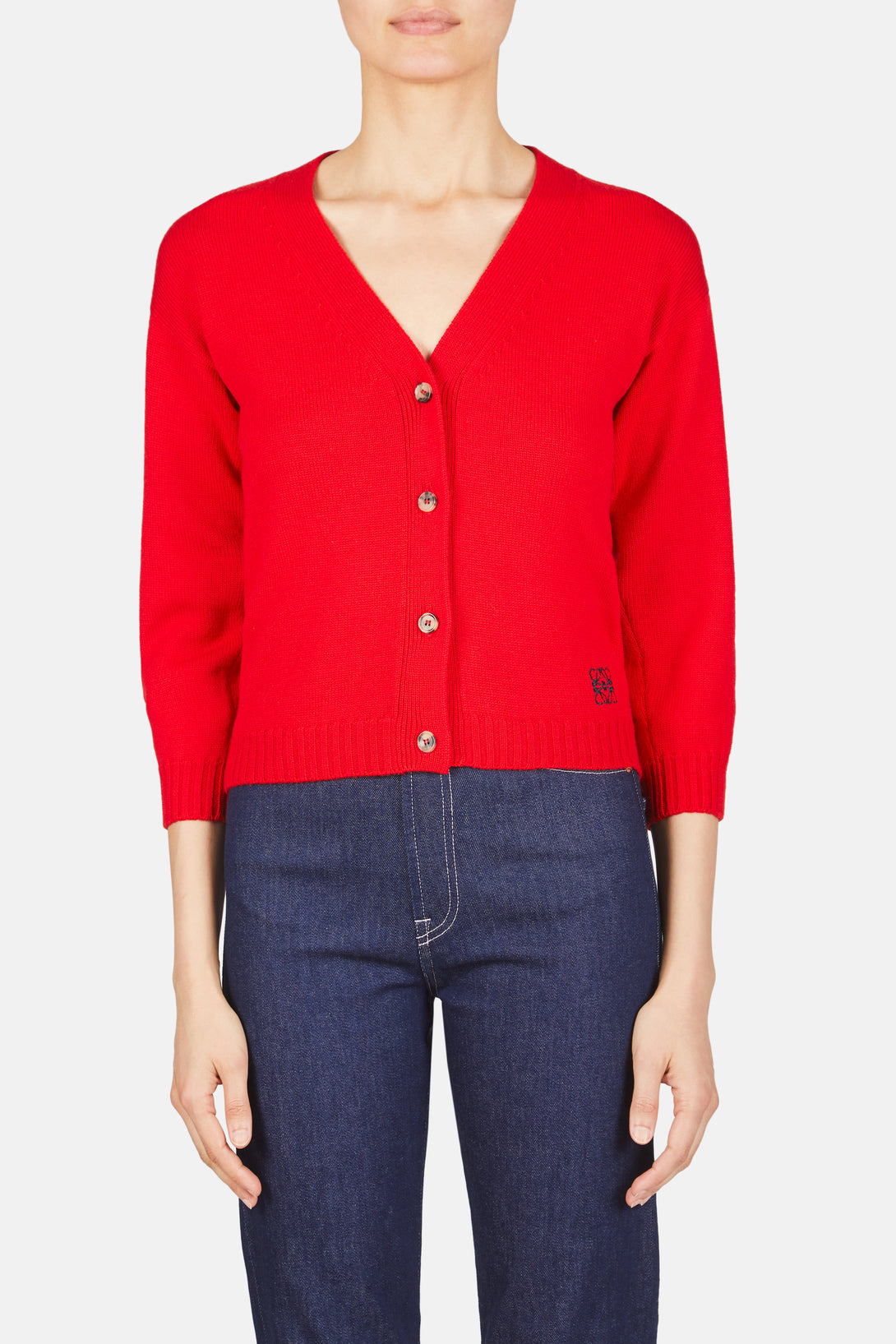 Cropped Button Down Cardigan - Red
