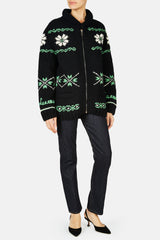 Knit Jacquard Zip Jacket - Black/Multicolor