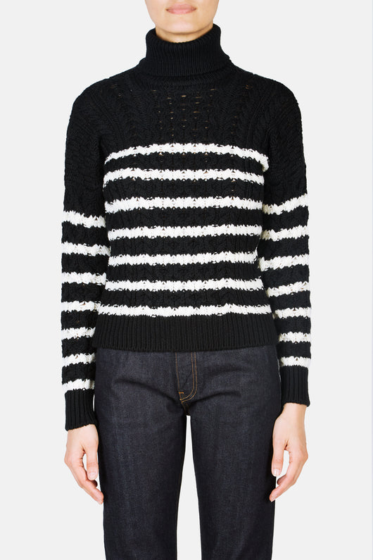 Stripe Cable Knit Sweater - Black/White