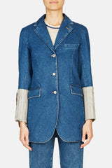 Stripe Cuff Denim Jacket - Blue/Beige