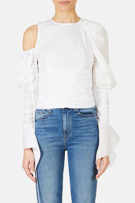 Gathered Detail Puff Sleeve Top - White