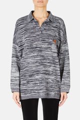 Melange Poloneck Sweater - Navy Blue/Grey