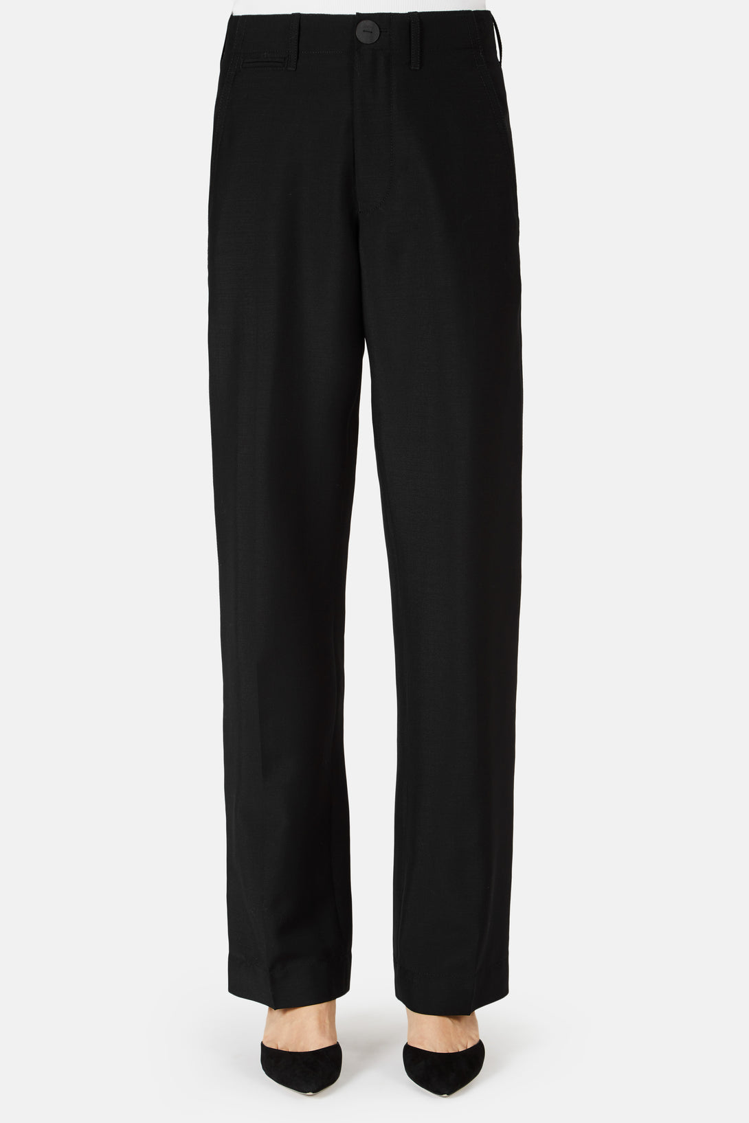 Straight Button Front Trouser - Black