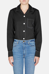 Long Sleeve Bowling Shirt - Black