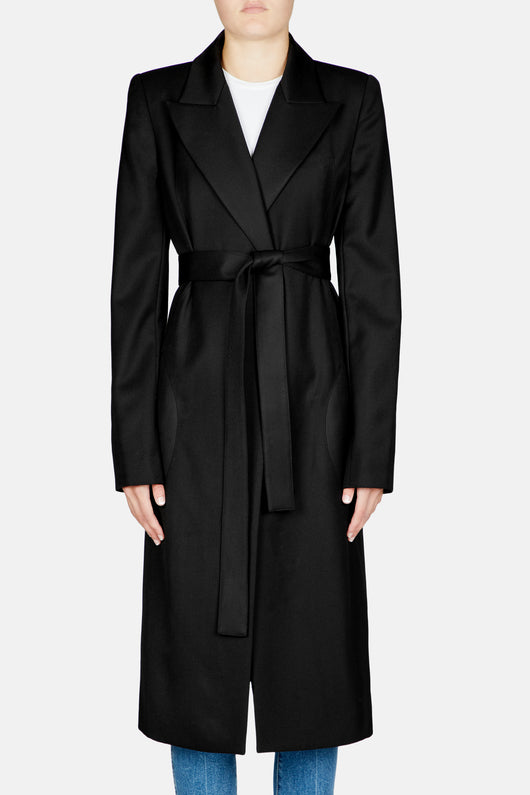 Long Wrap Coat - Black