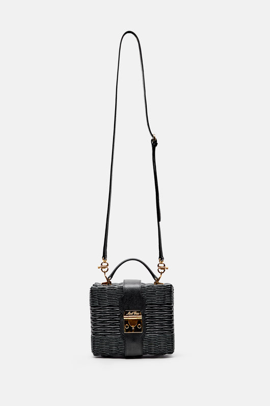 Harley Rattan Bag - Black/Black