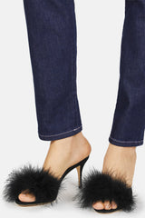 Lima Slip On Feather Mule - Black