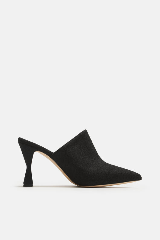 Lochplaclo Tweed Heeled Mule - Black