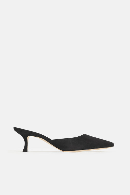 Arriga Pointy Toe Mule - Black Suede