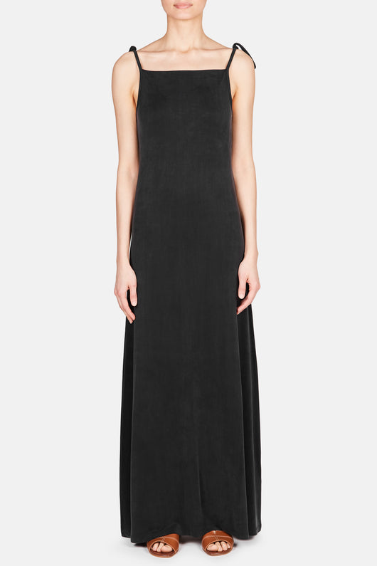 Tie Strap Long Dress - Black