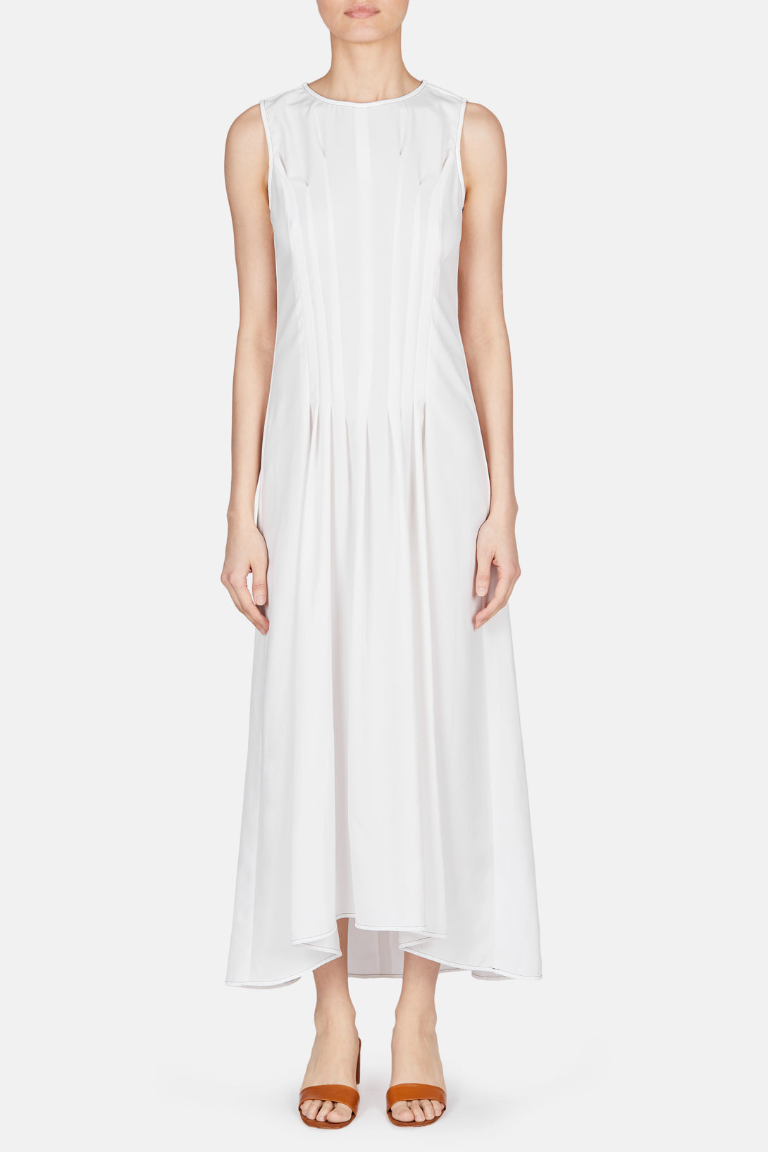 Sleeveless Front Release Pleat Dress - Off White
