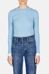 Contrast Hem Ribbed Knit Top - Blue Melange