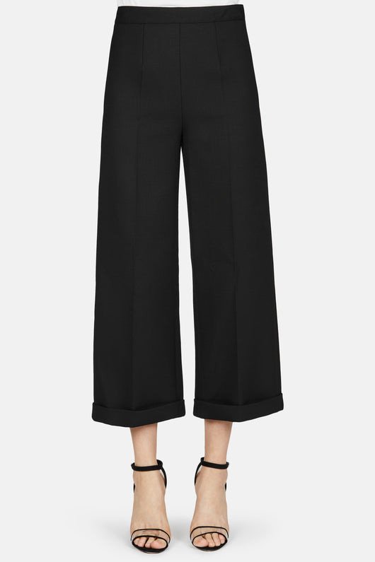 Wide Leg Culotte With Cuff - Black