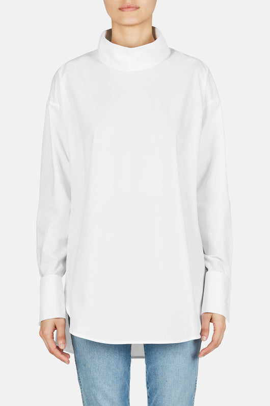 Poplin Shirt with Turtleneck  - White