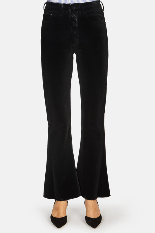 Flared Pant with Raw Edge Bottom - Black Flock
