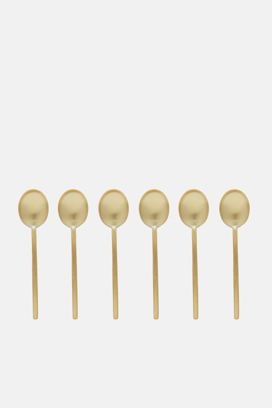 Due Demitasse Set of Six Spoons in Gift Box- Oro Ice
