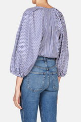 Striped Puff Sleeve Shirt - Navy/White