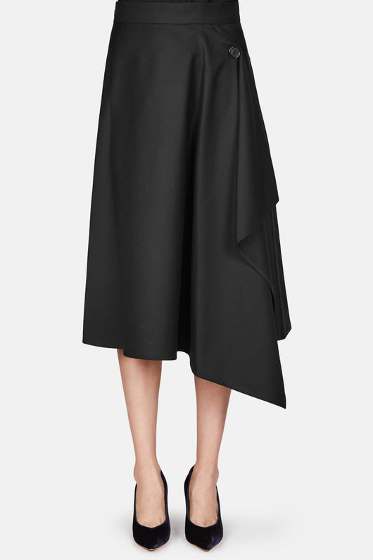 Twisted Flannel Skirt - Black