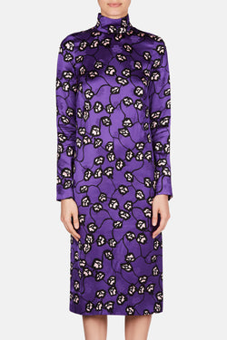 Longsleeve Satin Dress - Dark Orchid
